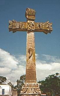 Huandacareo: Stone cross with the Passion symbols combined with indian symbols